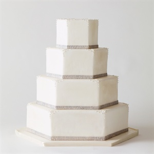 Elegant, Hexagonal White Cake