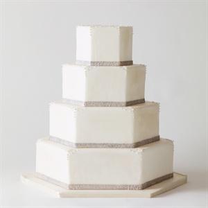 Elegant, Hexagonal White Cake