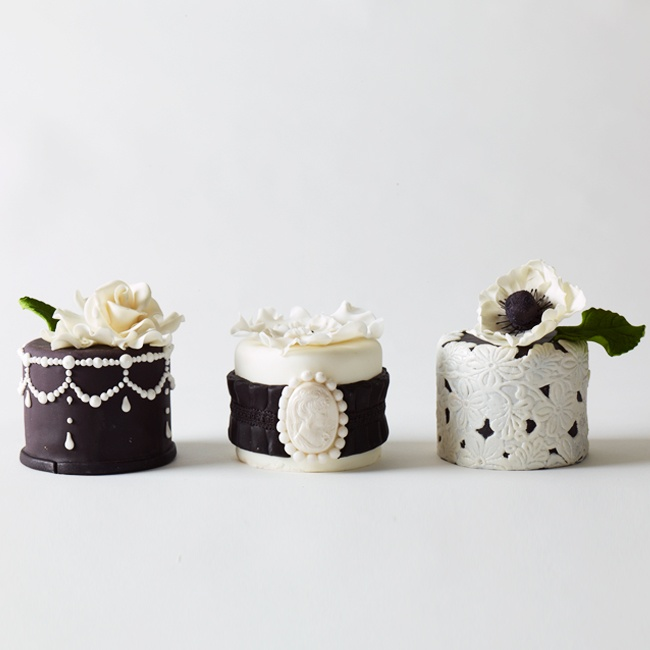 A grand idea: In lieu of (or in addition to) one main attraction, present guests with an array of coordinated miniature cakes. Artfully arrange them on dinner tables to make a delicious centerpiece, or bring them out during the dessert course as a sweet surprise. Delightful details, such as artful piping, lacework and delicate sugar ribbons, make e ...