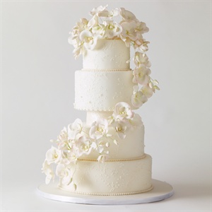 Ivory Cake with Cascading Flowers