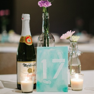 Watercolor Stenciled Table Number