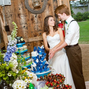 Blue Butterfly Decorated Wedding Cake
