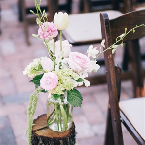 Pink and White Ceremony Aisle Decor