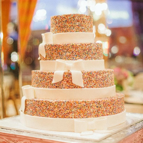 Colorful Sprinkles Topped Wedding Cake