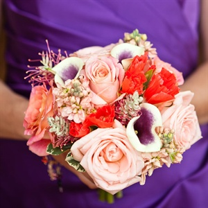 Sunset Colored Bridesmaid Bouquets