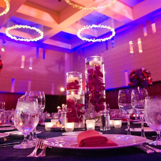 Submerged Orchid And Votive Candle Centerpieces
