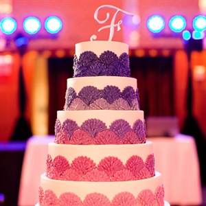 Pink and Purple Ombre Wedding Cake