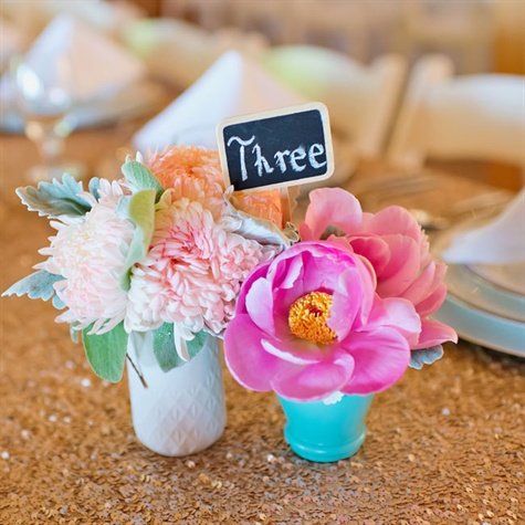 Petite Centerpieces and Chalkboard Table Numbers