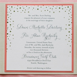 Pink and Gold Polka Dot Wedding Invitations