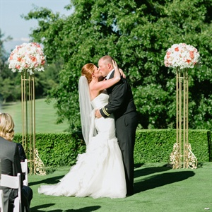 Pink and Gold Outdoor Ceremony Decor