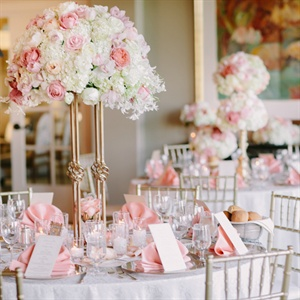 Romantic Pink and Gold High Centerpieces