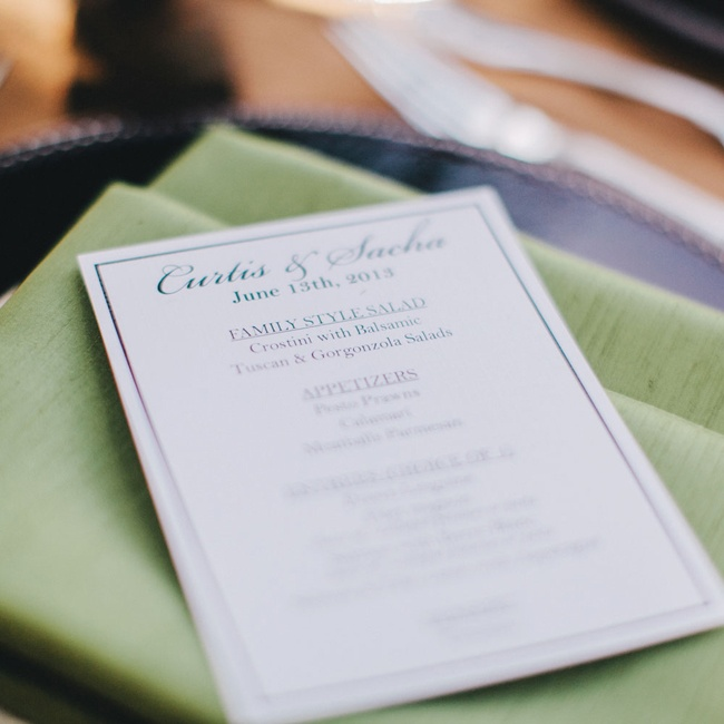Simple menu cards featured Italian-inspired fare.