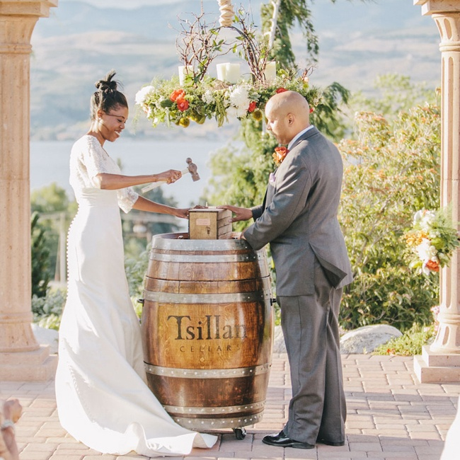 The couple added a new tradition of sealing a wine box together during the ceremony.