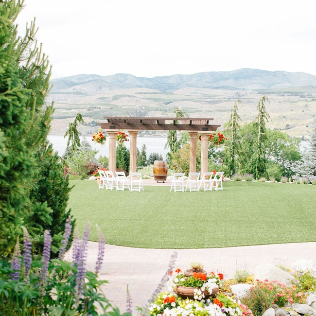 The outdoor ceremony was simple and the rolling vineyard hills served as a beautiful backdrop.