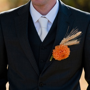 Rustic Orange Dahlia Boutonniere