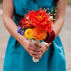 Orange Dahlia Bridesmaid Bouquets
