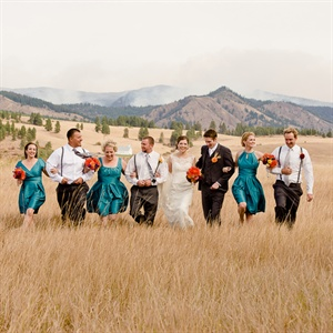 Orange and Teal Wedding Party