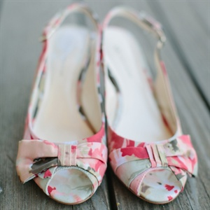 Slingback Bridal Shoes with Bow Detail