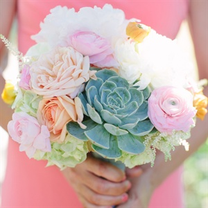 Pink Bridesmaids' Bouquets with Succulents