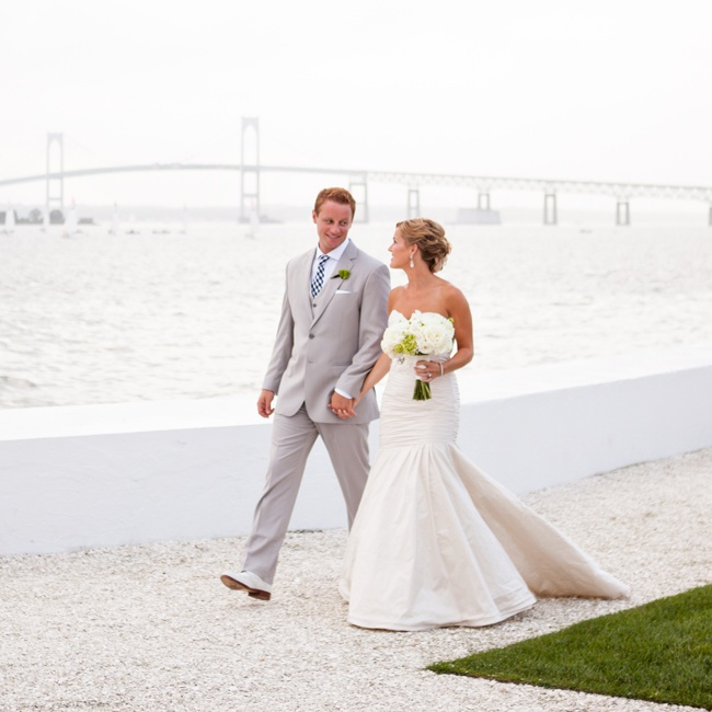 The couple and their family and friends gathered at Belle Mer for both their ceremony and reception. The ceremony was held on the Ocean Lawn with a stunning panoramic view of Narragansett Bay and was followed by a reception an elegant reception in the venue's Water Salon.