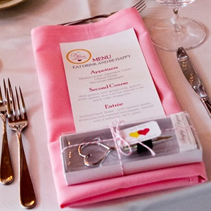 DIY Menu with Pink Place Settings and Favor