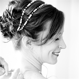 Relaxed Updo with Beaded Headband