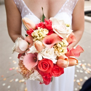Vivid Orange Calla Lily and Rose Bridal Bouquet