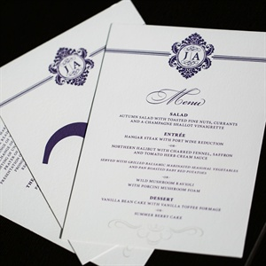 Elegant Purple Menu Cards with Monogram