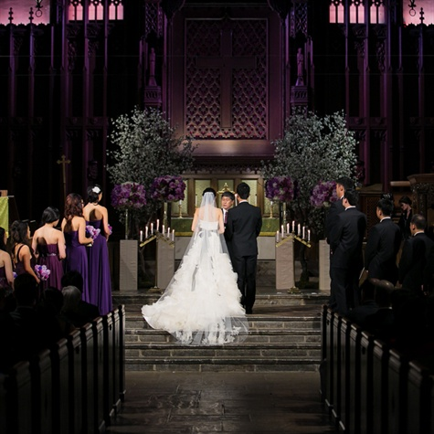 Church Ceremony with Purple Decor