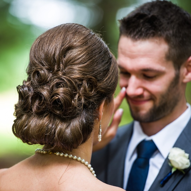 The bride wore her hair in a pretty updo.