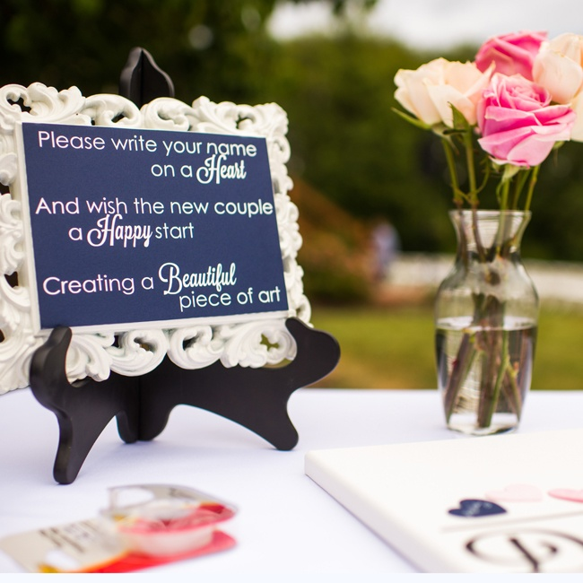 A framed sign let guests know how to use the guest book.