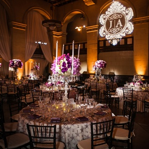 Glamorous Purple Ballroom Reception Tables