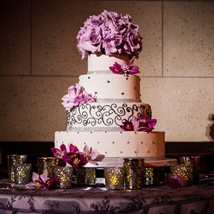 Glam Fondant Cake with Purple Flowers and Bling