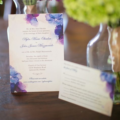 Blue and Purple Watercolor Invitations