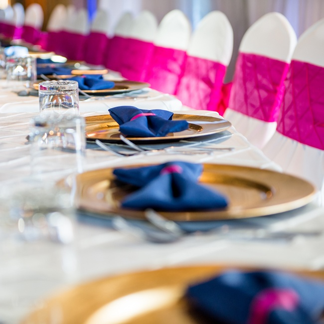 Pink, blue and gold decor set the tone for the reception.