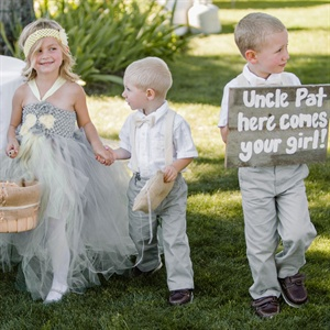 Gray Flower Girl and Ring Bearer