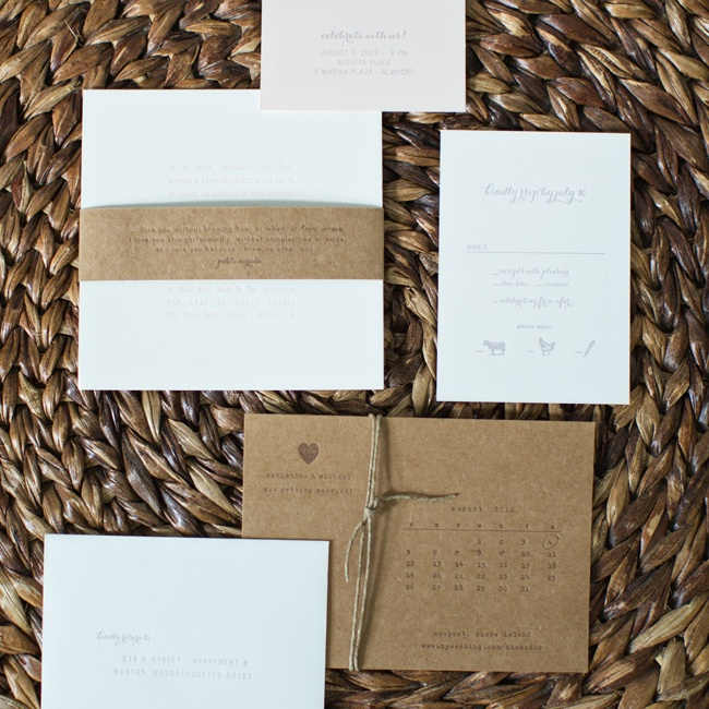 Simplesong Designs in Washington D.C. created this elegant invitation suite for Christina and Michael. Simple white letterpress invitations were given a rustic flair with kraft paper accents, including a band with an excerpt from Pablo Neruda's Soneto XVII.