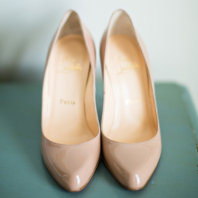 Christina wore a pair of nude Christian Louboutin pumps to go with her classic bridal look.