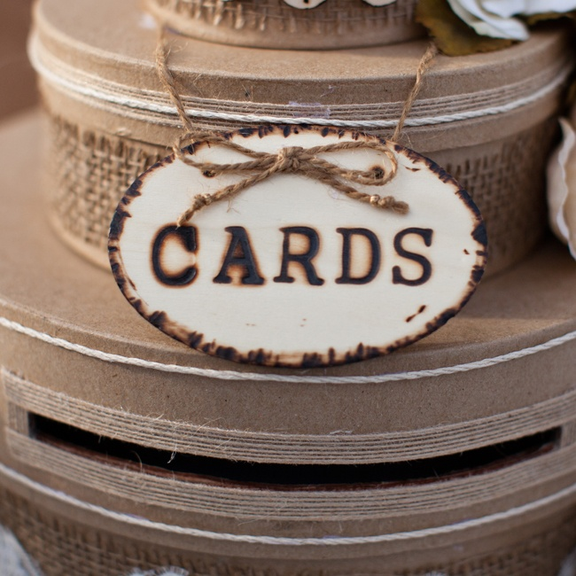 Guests dropped cards and well-wishes in these rustic burlap accented boxes.