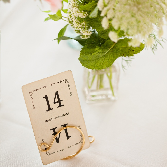 Vintage playing cards from the 30one shop on Esty.com were used as table numbers. The cards fit in perfectly with the vintage-inspired reception decor.