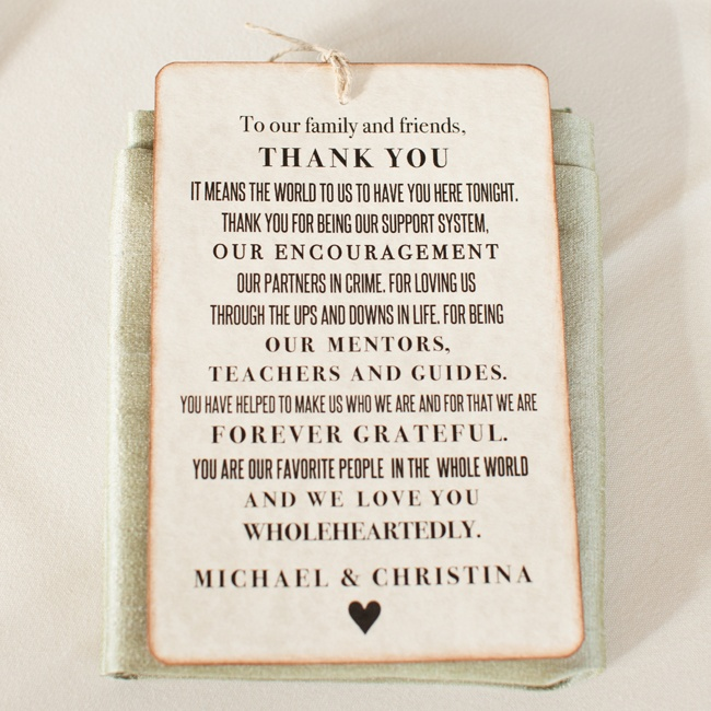 Customized antiqued thank you cards from Etsy's luvs2create2 shop were placed at each guest's place setting.