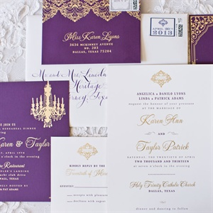 Chic Purple and Gold Wedding Invitation