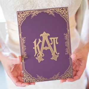 Elegant Purple and Gold Wedding Program