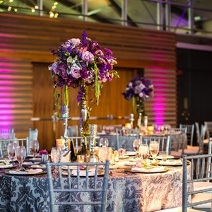 Silver Reception Linen with Black Damask