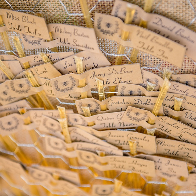 The bride DIY-ed her escort cards, attaching name tags to homemade honey straws.