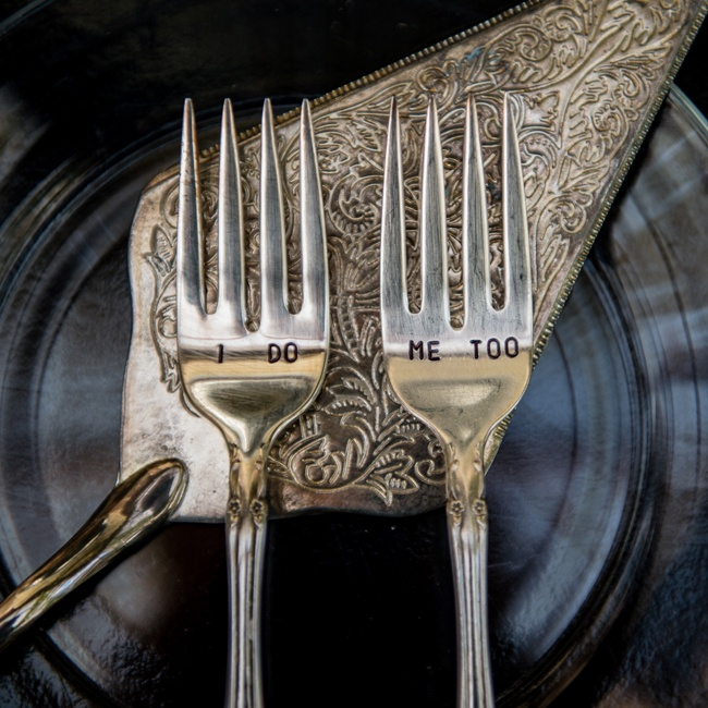 "The place setting included an engraved fork set which read ""I do"" and ""me too."""