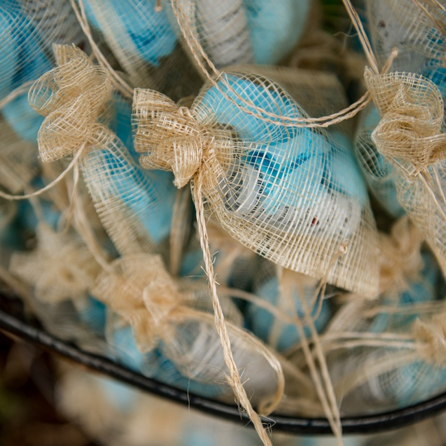 Guests took home burlap bags filled with Jordan almonds for favors.