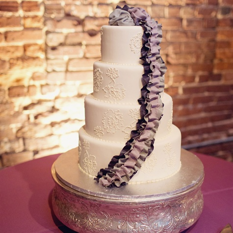 Purple and Gray Wedding Cake