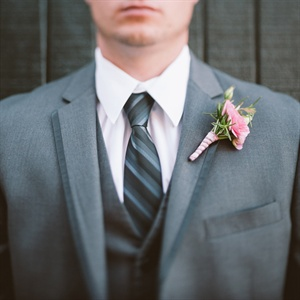Gray Tuxedo and Pink Boutonniere