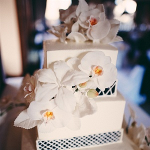 Modern Square Cake with Fresh Orchids